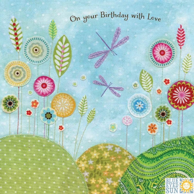 Dragonflies & Flowers Happy Birthday Card - product images