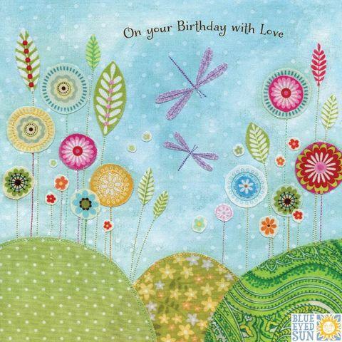 Dragonflies,&,Flowers,Happy,Birthday,Card,Buy dragonfly cards online, buy birthday cards with dragonflies online, buy floral birthday cards for her online, buy garden birthday cards for her online with nature, flowers, trees, birds, bunting, buy pretty birthday cards for her online, buy bird birt