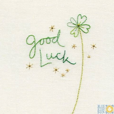 Clover,Good,Luck,Card,buy four leafed clover good luck card online, buy cards for good luck online, good luck card, buy clover and stars good luck card for exams job test driving test new school online