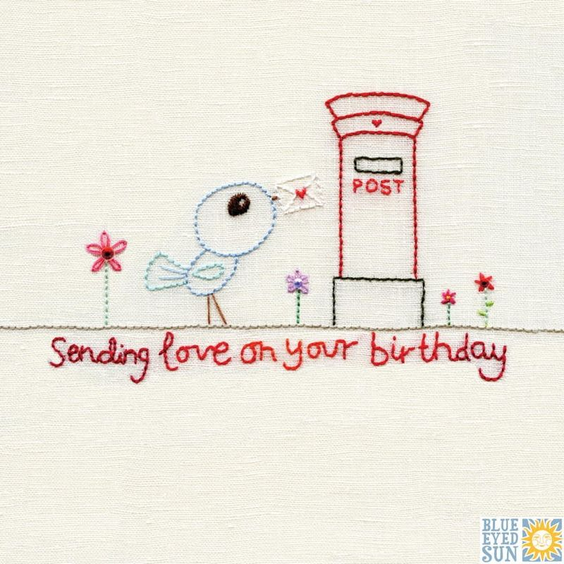 Bird & Postbox Sending Love Birthday Card - product images