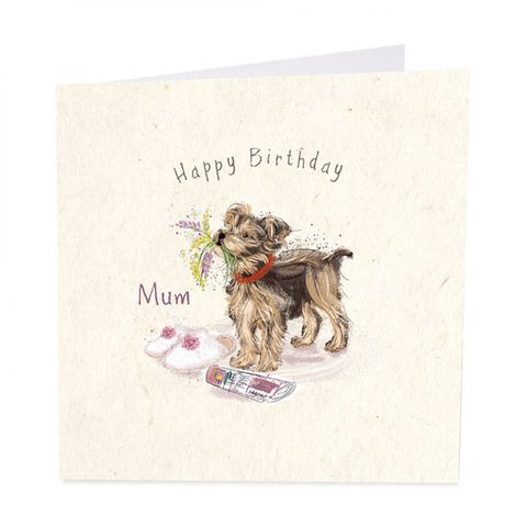 Dog,&,Flowers,Mum,Happy,Birthday,Card,buy mum birthday card online, buy pretty mum birthday card online, buy dog birthday cards for special mum online, buy dog and flowers birthday cards for parents parent mum online, buy special mum birthday card online