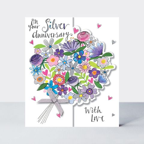Floral,Bouquet,On,Your,Silver,Anniversary,Card,buy silver wedding anniversary online with flowers, buy pretty silver anniversary cards for special couple friends relations mum and dad grandparents, flowers silver wedding anniversary cards, buy 25th wedding anniversary cards online,