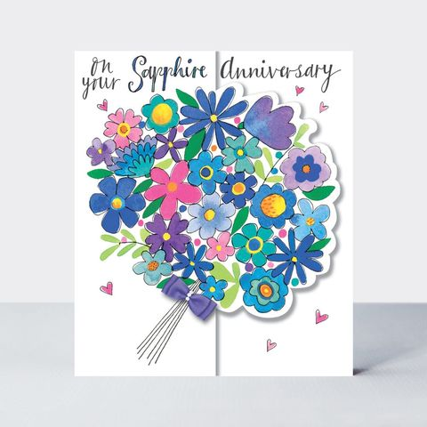 Floral,Bouquet,On,Your,Sapphire,Anniversary,Card,buy sapphire wedding anniversary online with flowers, buy pretty sapphire anniversary cards for special couple friends relations mum and dad grandparents, flowers sapphire wedding anniversary cards, buy 45th wedding anniversary cards online,