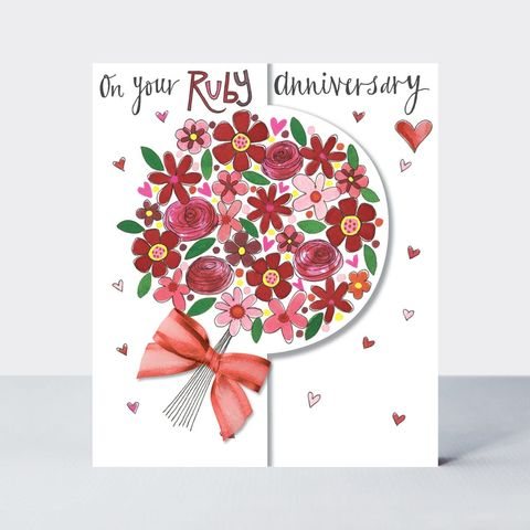 Floral,Bouquet,On,Your,Ruby,Anniversary,Card,buy ruby wedding anniversary online with flowers, buy pretty ruby anniversary cards for special couple friends relations mum and dad grandparents, flowers ruby wedding anniversary cards, buy 40th wedding anniversary cards online,