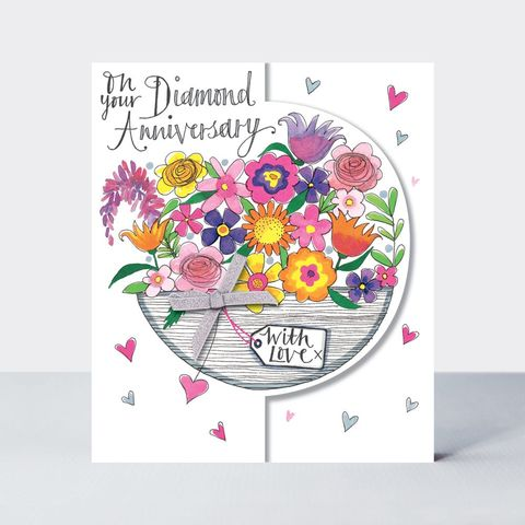 Basket,Of,Flowers,On,Your,Diamond,Anniversary,Card,buy diamond wedding anniversary online with flowers, buy pretty diamond anniversary cards for special couple friends relations mum and dad grandparents, flowers diamond wedding anniversary cards, buy 60th wedding anniversary cards online,