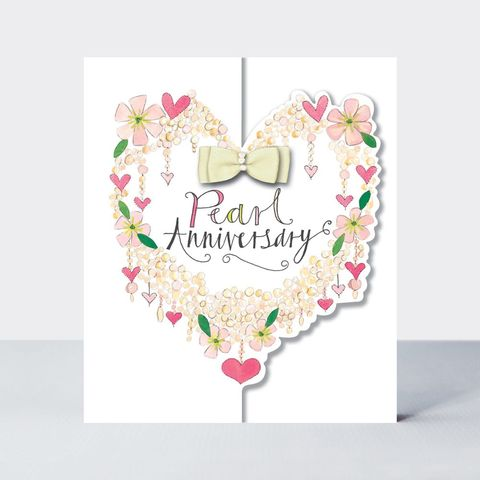 Heart,Of,Flowers,Pearl,Anniversary,Card,buy pearl wedding anniversary online with flowers and hearts, buy pretty heart pearl anniversary cards for special couple friends relations mum and dad grandparents, flowers pearl wedding anniversary cards, buy 30th wedding anniversary cards online,