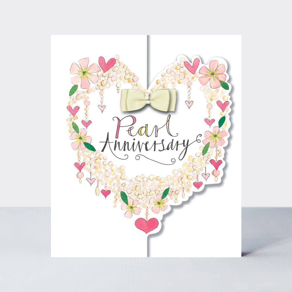 Heart Of Flowers Pearl Anniversary Card