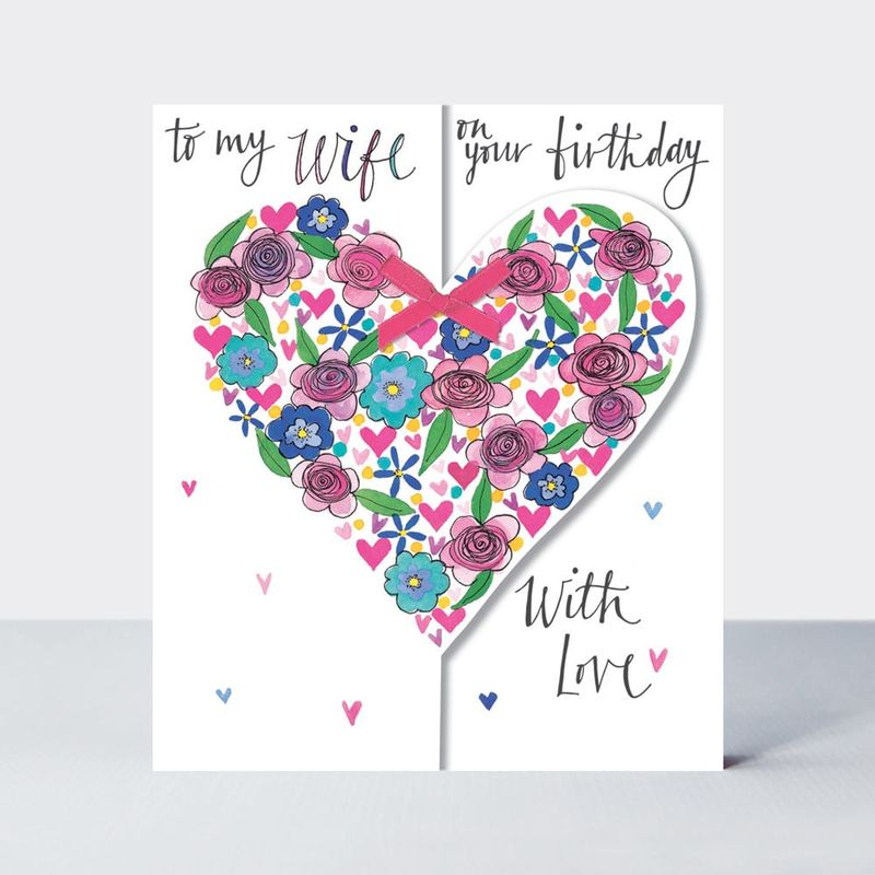 Floral Heart Wife On Your Birthday Card - product images