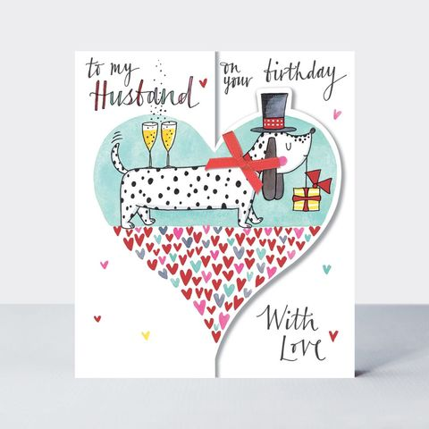 Spotty,Dog,&,Heart,Husband,On,Your,Birthday,Card,buy husband birthday card online with heart, buy dog birthday cards for husbands online, buy special to my husband birthday card online from husband wife with hearts, buy to my husband birthday cards online with dog dogs champagne hearts,