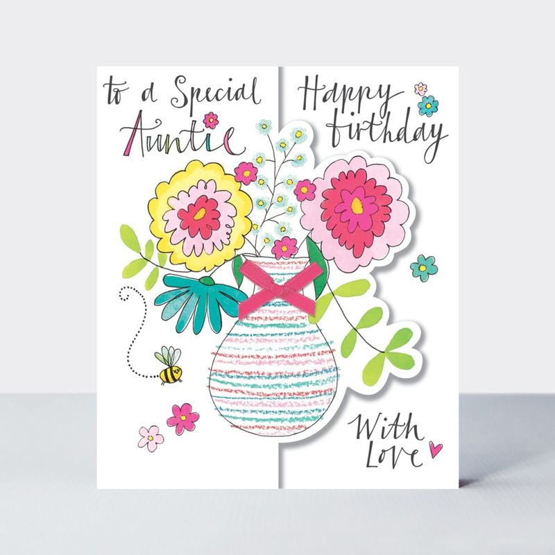 Vase Of Flowers Special Auntie Birthday Card - product images