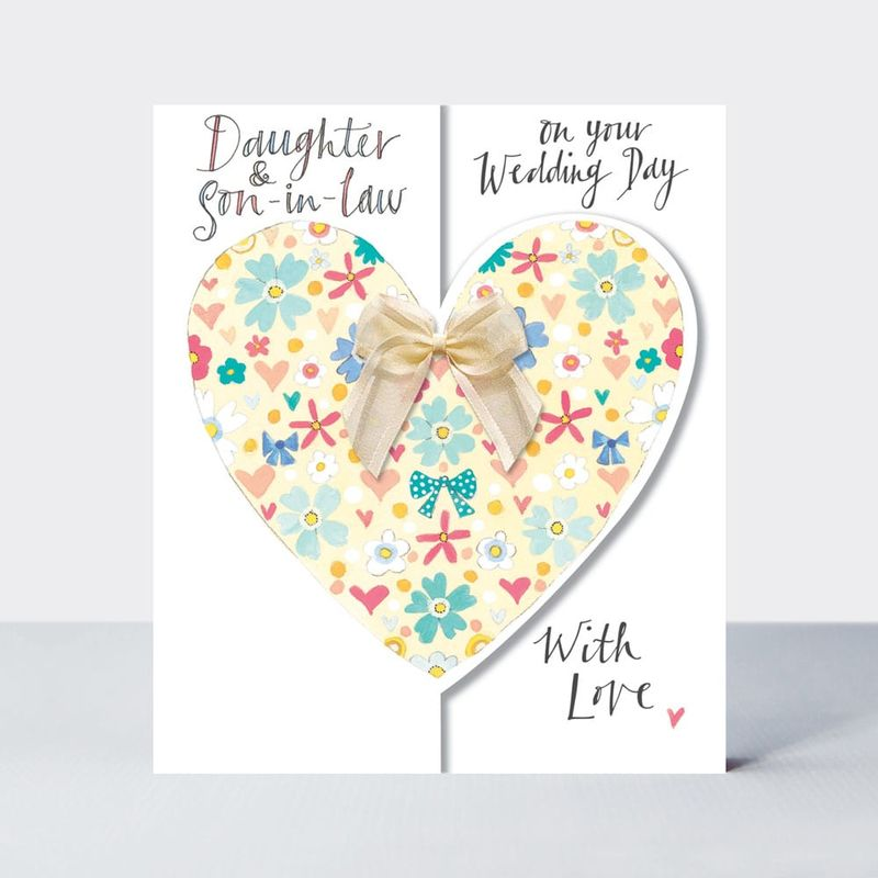 Floral Heart Daughter And Son In Law Wedding Card - product images