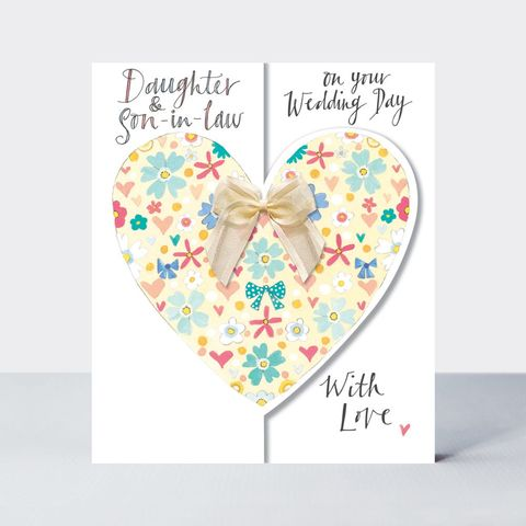 Floral,Heart,Daughter,And,Son,In,Law,Wedding,Card,Buy daughter and son in law wedding day card online, buy daughter happy wedding day card online with hearts, buy pretty heart bride and groom cards for special couple friends relations wife husband mum and dad parents grandparents, hearts wedding annivers