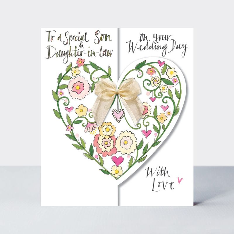 Floral Heart Son And Daughter In Law Wedding Card - product images