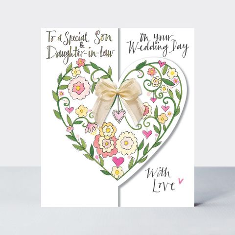 Floral,Heart,Son,And,Daughter,In,Law,Wedding,Card,Buy son and daughter in law wedding day card online, buy son happy wedding day card online with hearts, buy pretty heart bride and groom cards for special couple friends relations wife husband mum and dad parents grandparents, hearts wedding annivers
