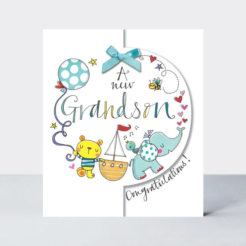 Congratulations A New Grandson Baby Card - product images
