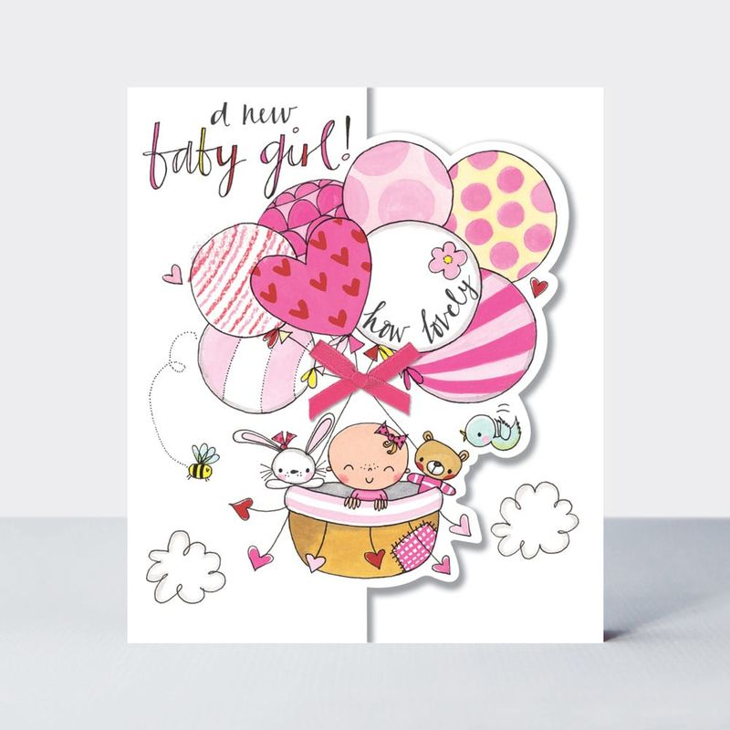 Baby & Balloons A New Baby Girl Card - product images