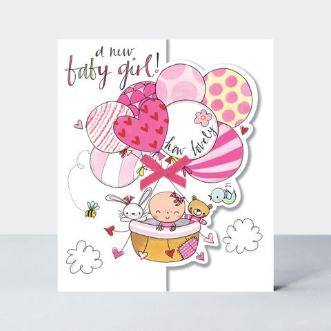 Baby,&,Balloons,A,New,Girl,Card,buy new baby girl congratulations card online, buy new parents congrats card online, buy pretty new baby boy grandson cards, grandparents congrats cards,buy we
