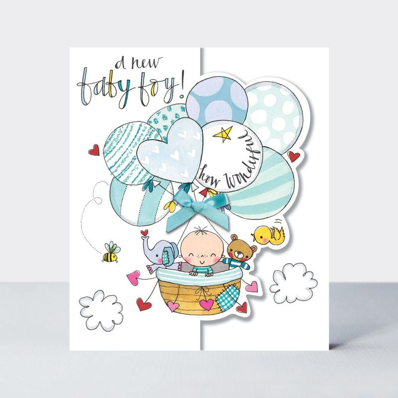 Baby & Balloons A New Baby Boy Card - product images