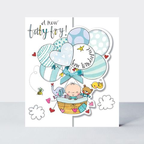 Baby,&,Balloons,A,New,Boy,Card,buy new baby boy congratulations card online, buy new parents congrats card online, buy pretty new baby boy grandson cards, grandparents congrats cards,buy we