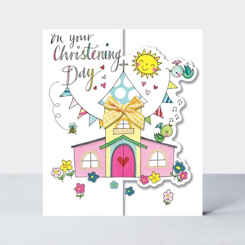 Birds,&,Church,Christening,Day,Card,buy christening day congratulations card online, buy babys christening day card online, buy pretty new baby boy grandson cards, grandparents congrats cards,buy we
