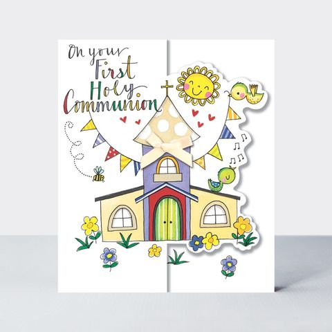 Birds,&,Church,On,Your,First,Holy,Communion,Card,buy first holy communion congratulations card online, buy first holy communion church birds card online, buy pretty new baby boy grandson cards, grandparents congrats cards,buy we