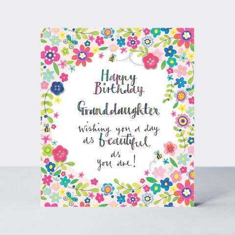 Floral,Beautiful,Granddaughter,Birthday,Card,buy granddaughter birthday card online, buy birthday cards for granddaughters online, buy floral grand-daughter birthday card, buy pretty grand-daughter birthday cards with flowers online, buy grandchild birthday card from grandparent grandma grandad onli