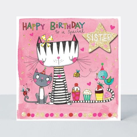 Cats,&,Cupcakes,Special,Sister,Birthday,Card,buy sister birthday cards online, buy birthday cards for sisters online, buy cat birthday cards for sister sibling online, buy cute sister birthday card from sister brother sibling online, buy cat kitten cake bird birthday cards for sisters online