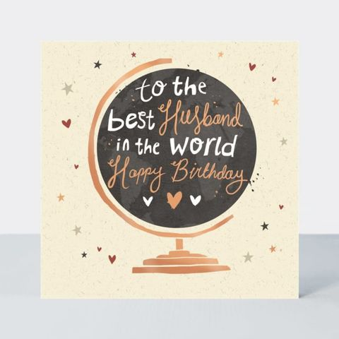 To,The,Best,Husband,In,World,Birthday,Card,buy happy birthday cards for husbands online, buy to the best husband in the world birthday cards online, buy husband birthday cards online with globe from wife husband, buy wonderful husband birthday cards with globes map world online