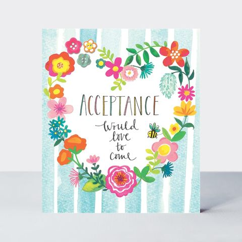 Heart,Of,Flowers,Acceptance,Card,buy acceptance cards online, buy wedding acceptance cards online, buy party acceptance card online, buy would love to come card online, buy with regret card online,