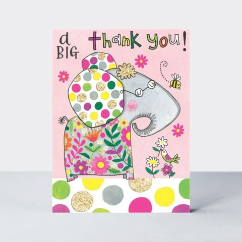Rachel,Ellen,Pack,of,5,Thank,You,Note,Cards,-,Elephant,Design,buy elephant thank you cards online, buy kids thank you cards online, buy childrens thank you cards online, buy thank you cards for her online, buy elephant cards online, buy a big thank you cards online with elephants, cute thank you cards, elephant writ