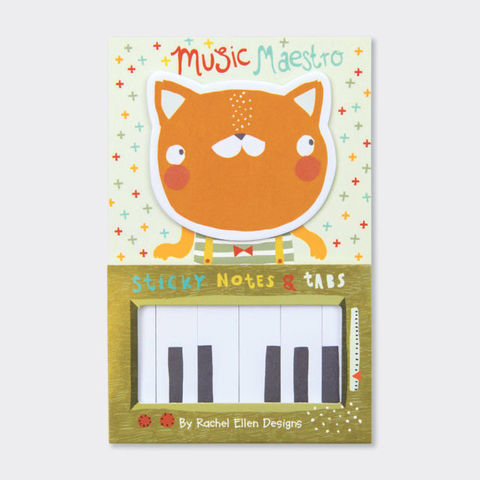 Rachel,Ellen,Sticky,Notes,And,Tabs,-,Piano,Cat,Music,Maestro,Design,buy stationery for her online, buy animal sticky notes online, buy book of sticky notes online, buy pretty desk and office sticky notes online, buy stationery gifts online