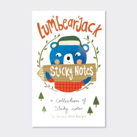 Rachel,Ellen,Book,Of,Sticky,Notes,-,Bear,Lum'bear'jack,Design,buy stationery for her online, buy animal sticky notes online, buy book of sticky notes online, buy pretty desk and office sticky notes online, buy stationery gifts online