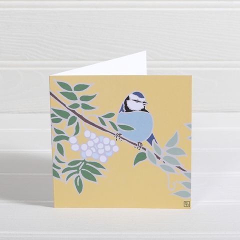 Bird,&,Rowan,Greetings,Card,-,Emily,Burningham,Blank,buy emily burningham cards online, buy bird card online, buy flowers greetings cards online, buy nature blank greetings cards online, buy birds blank cards online, buy blue tit and rowan berries flowers card online, buy beautiful cards with birds,  flower
