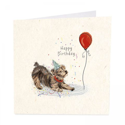 Dog,&,Balloon,Happy,Birthday,Card,buy dog birthday card online, buy birthday card with dogs terrier Yorkie online, buy dog birthday cards for special person online, buy dog birthday cards