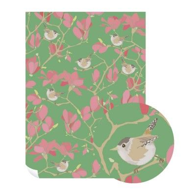 Emily,Burningham,Wren,And,Blossoms,Gift,Wrap,-,Pack,of,5,Sheets,buy emily burningham gift wrap online., buy floral wrapping paper for her online, buy pretty botantical gift wrap online, buy pack of gift wrap online, buy luxury wrap online