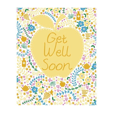 Apple,Get,Well,Soon,Card,buy get well soon cards online, buy feel better soon cards online, buy get well cards online with apple flowers grapes medicine teapot cup of tea, the one i love birthday card online, buy girlfriend birthday card online, buy wife birt