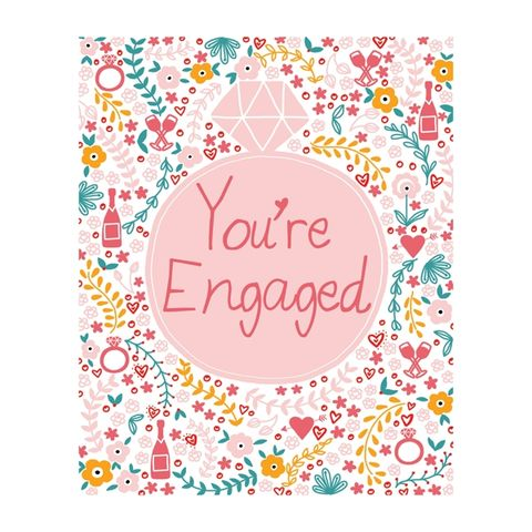 Diamond,Ring,You're,Engaged,Card,buy you are engaged congratulations online, buy engagement cards online, buy you're engaged cards online with diamond ring hearts flowers champagne drinks, congratulations on your engagement card,  cup of tea, the one i love birthday card online, buy girl