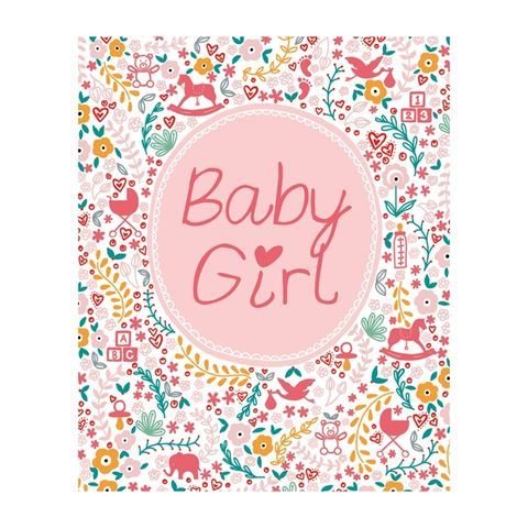 Pink,Baby,Girl,Card,buy new baby congratulations cards online, new baby girl cards online, buy new baby cards online with flowers stork pram toys footprints elephant,
