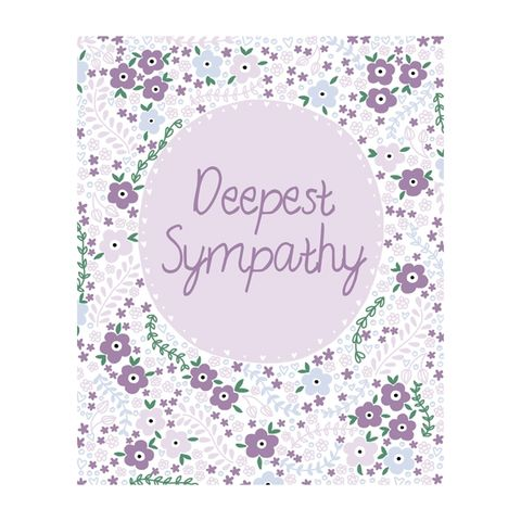 Lilac,Flowers,Deepest,Sympathy,Card,buy deepest sympathy cards online, buy with condolences bereavement cards for funeral online, buy with sympathy cards online with pretty flowers
