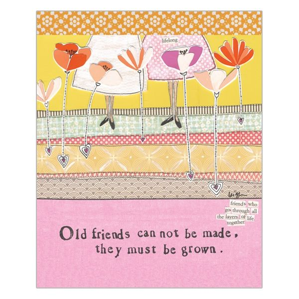 Old Friends Must Be Grown Card - Curly Girl Design Card - product images  of