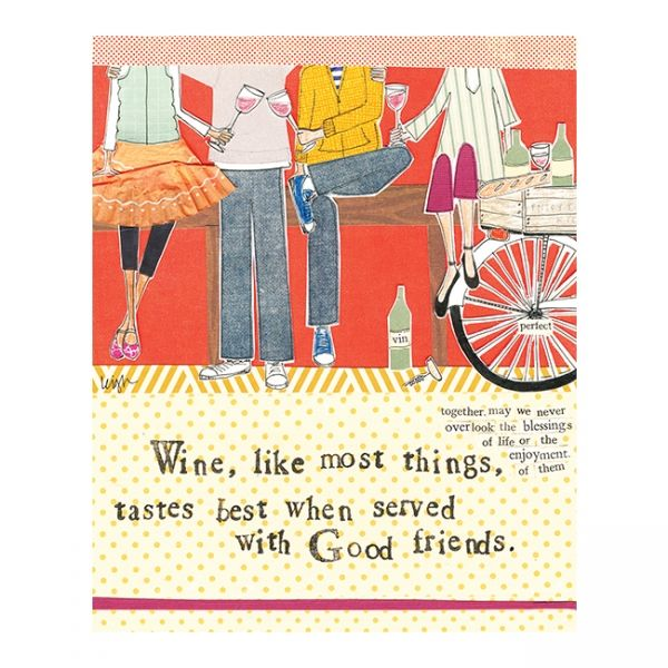 Wine Tastes Best When Served With Good Friends Card - Curly Girl Design Card - product images