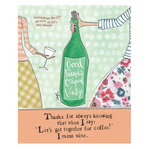 I Mean Wine Good Friends Card - Curly Girl Design Card - product images
