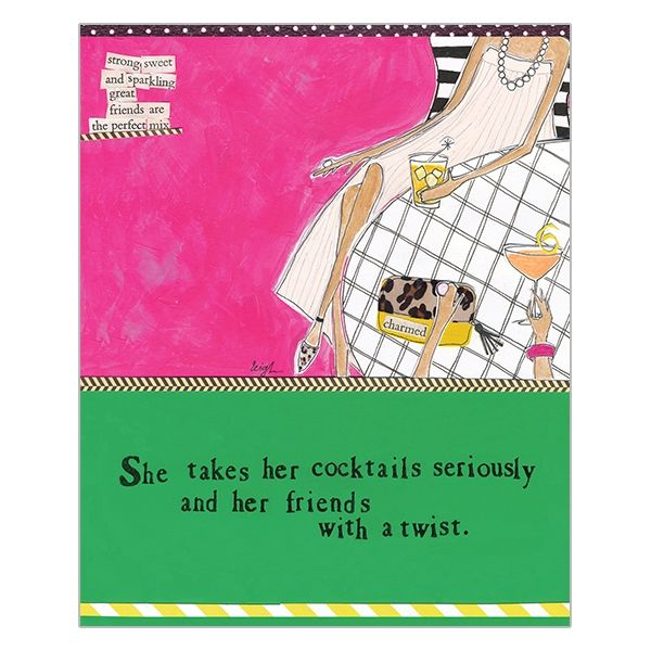 She Takes Her Cocktails Seriously Great Friends Card - Curly Girl Design Card - product images