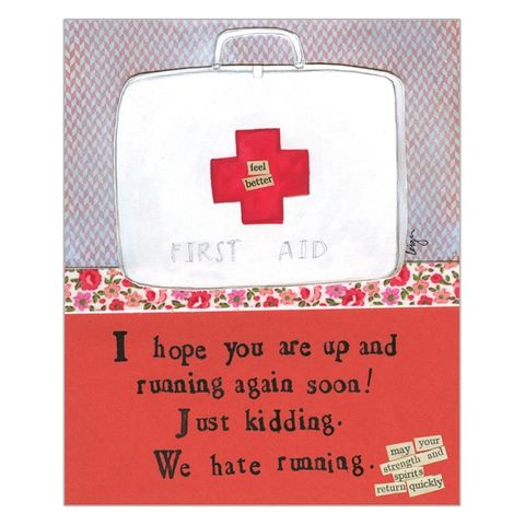 Up,And,Running,Feel,Better,Soon,Card,-,Curly,Girl,Design,buy feel better soon card online, buy curly girl designs card online, curly girl cards UK, buy get well soon cards online, buy up and running speedy recovery cards online, best friend get well card, first aid box get well card
