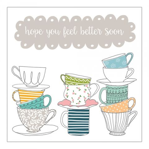 Teacups,Feel,Better,Soon,Card,buy feel better soon card online, buy teacups get well soon card online, buy get well soon cards online, buy up and running speedy recovery cards online, best friend get well card, first aid box get well card