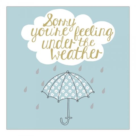 Umbrella,Under,The,Weather,Card,buy feel better soon card online, buy umbrella get well soon card online, buy get well soon cards online, buy up and running speedy recovery cards online, best friend get well card, first aid box get well card