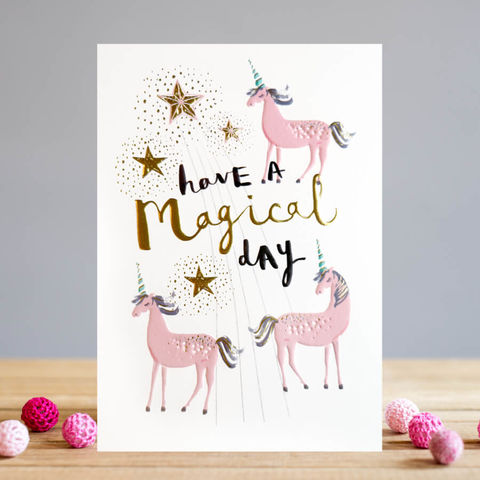 Pink,Unicorns,Magical,Happy,Birthday,Card,buy unicorn birthday card online, buy magical birthday cards with unicorns online, buy birthday card for her online, female birthday cards, girls birthday cards, cards with animals, giraffe birthday card, head above the rest birthday cards for her, and st