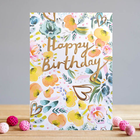 Flowers,And,Hearts,Happy,Birthday,Card,buy flowers and hearts birthday card online, buy birthday cards with flowers online, buy floral birthday card for her online, female birthday cards, girls birthday cards, cards with animals, giraffe birthday card, head above the rest birthday cards for he