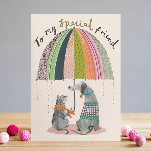Dog,&,Cat,To,My,Special,Friend,Card,Buy special friendship cards online, buy best friend card with cat dog umbrella online, buy dog cat card for special friend online, buy friend birthday cards with dogs online, buy birthday card for her online, female birthday cards, girls birthday cards,