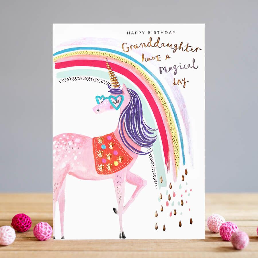 Unicorn And Rainbow Granddaughter Magical Birthday Card